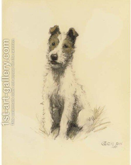 A wire haired fox terrier by Cecil Charles Aldin - Reproduction Oil Painting