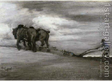 Ploughing by Cecil Charles Aldin - Reproduction Oil Painting