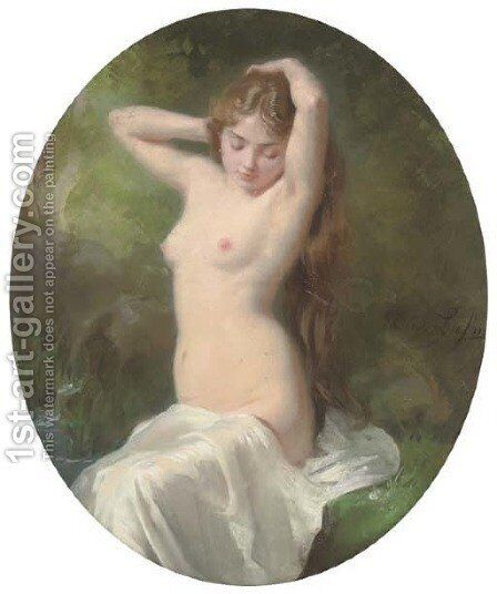 Female nude by the bathing pool by Cecille Berthe Lafosse - Reproduction Oil Painting