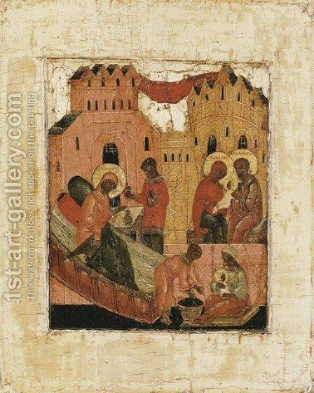 The Birth of the Virgin by Central Russian School - Reproduction Oil Painting
