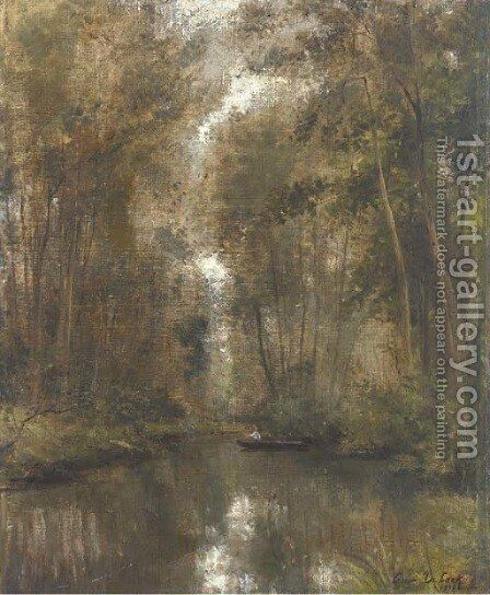 Fishing in the woods by Cesar De Cock - Reproduction Oil Painting