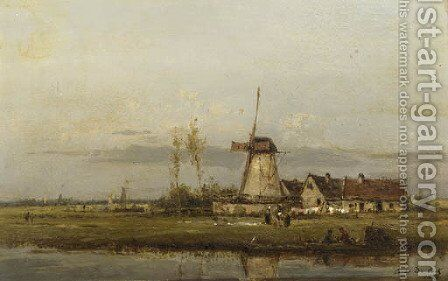 Washerwomen at work by a windmill by Cesar De Cock - Reproduction Oil Painting