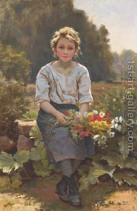 The Flower Girl by Cesar Pattein - Reproduction Oil Painting