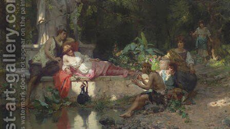 A Summer Idyll by Cesare-Auguste Detti - Reproduction Oil Painting