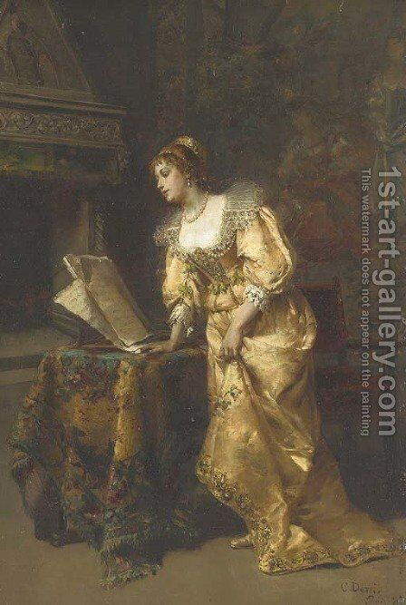 An Elegant Lady reading Music by Cesare-Auguste Detti - Reproduction Oil Painting