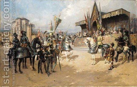 Before the Joust by Cesare-Auguste Detti - Reproduction Oil Painting