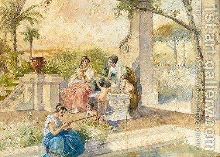 A Classical figure fishing beside a pool in an ornate garden by Cesare Felix dell' Acqua - Reproduction Oil Painting