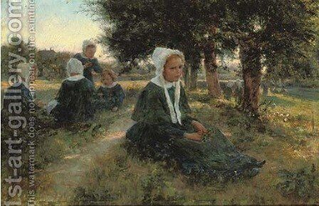 Girls in a meadow by Cesare Saccaggi - Reproduction Oil Painting