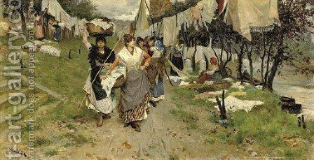 Laundry day by Cesare Tiratelli - Reproduction Oil Painting