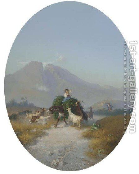 The hay cart by Cesare Uva - Reproduction Oil Painting