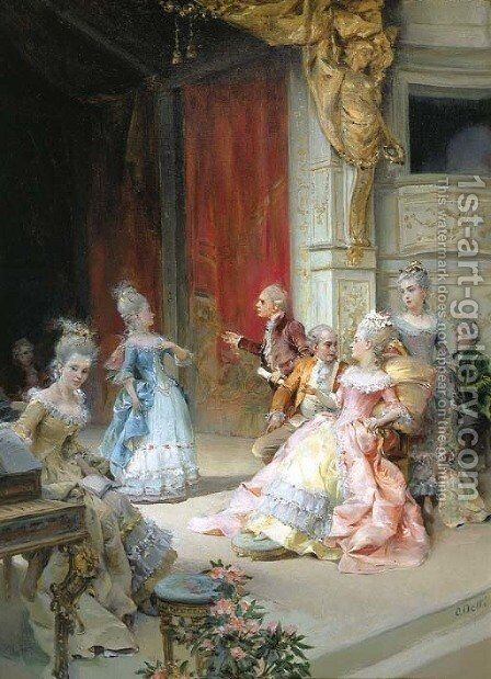 The arrival by Cesare-Auguste Detti - Reproduction Oil Painting