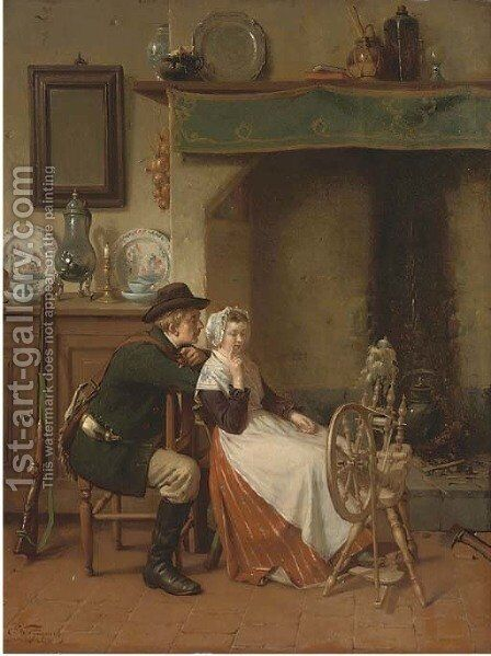 The hunter's yarn by Ch. Van Wyngaert - Reproduction Oil Painting