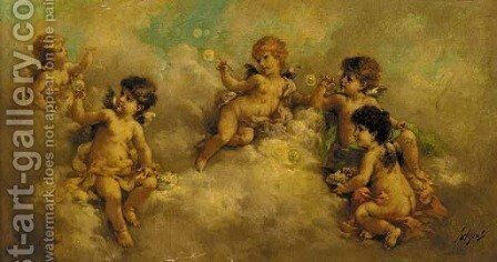 Putti blowing bubbles in the clouds by Charles Augustus Henry Lutyens - Reproduction Oil Painting