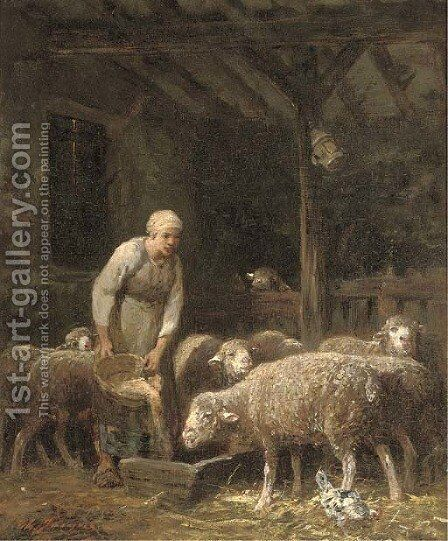 Feeding time by Charles Émile Jacque - Reproduction Oil Painting