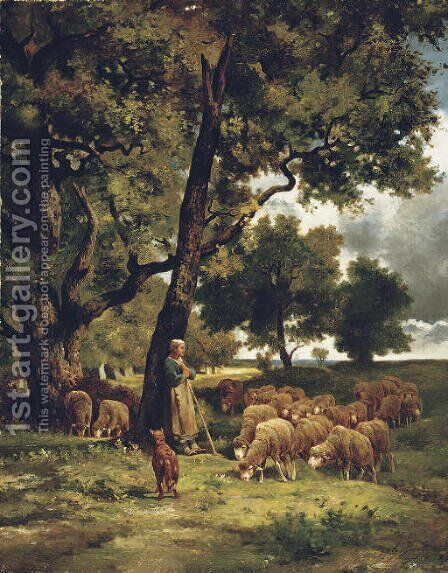 The Shepherdess and Her Flock by Charles Émile Jacque - Reproduction Oil Painting