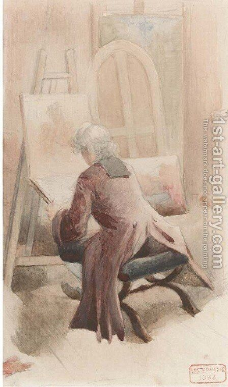 An artist in his studio by Charles Bargue - Reproduction Oil Painting