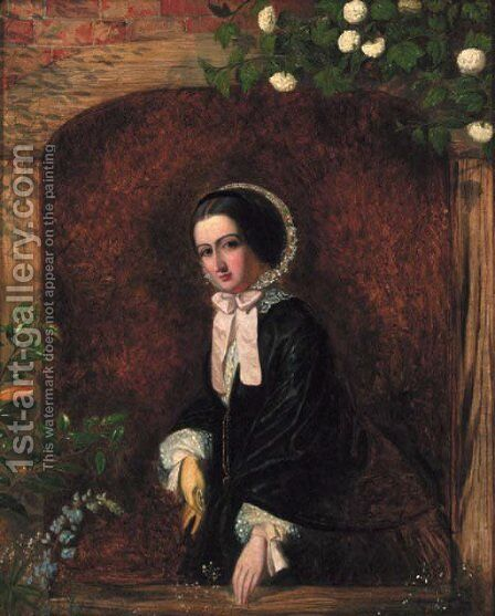 A portrait of a young woman, small three-quarter-length, in a black dress and bonnet, at a casement by Charles Baxter - Reproduction Oil Painting