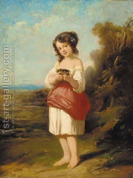 A girl with a bird's nest in a landscape by Charles Baxter - Reproduction Oil Painting