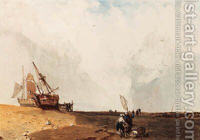 Fishing vessels, with fisherfolk in the foreground by Charles Bentley - Reproduction Oil Painting