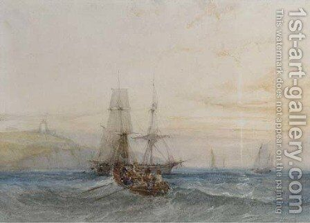 Shipping off a coast by Charles Bentley - Reproduction Oil Painting