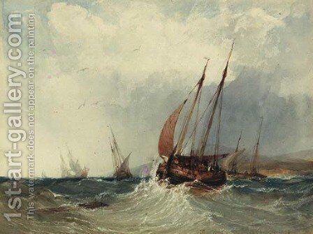 A trawler in a swell by Charles Bentley - Reproduction Oil Painting