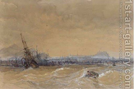 Shipping in a heavy swell off Leith by Charles Bentley - Reproduction Oil Painting