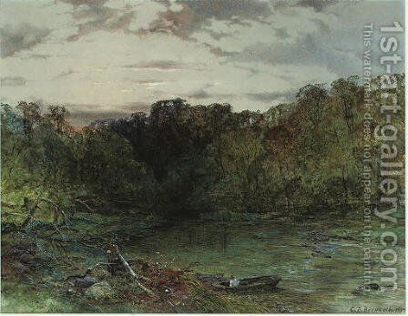 A wooded river landscape at sunset by Charles Branwhite - Reproduction Oil Painting