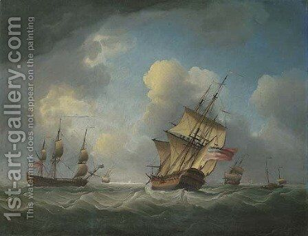 A Royal Naval squadron of the Red offshore in a heavy swell by Charles Brooking - Reproduction Oil Painting
