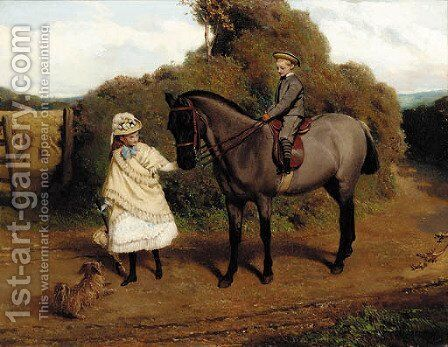 Vandaleur Brightsmith and his sister by Charles Burton Barber - Reproduction Oil Painting