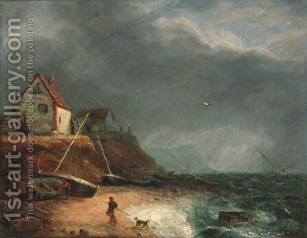 Fisherfolk on the beach before an approaching storm by Charles, I Catton - Reproduction Oil Painting