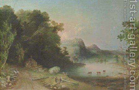 The Log Cabin (Cattle in Lake) by Charles Codman - Reproduction Oil Painting