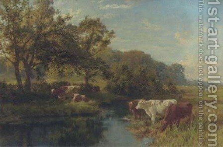 Cattle watering in a meadow by Charles Collins - Reproduction Oil Painting