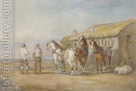 A change of horses by Charles Cooper Henderson - Reproduction Oil Painting