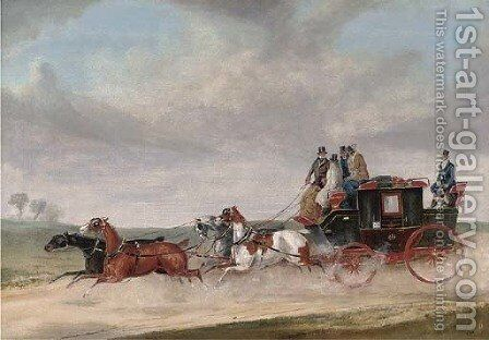 A stagecoach at full speed by Charles Cooper Henderson - Reproduction Oil Painting