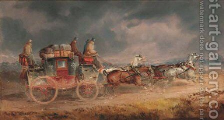 The Louth to London Royal Mail Coach by Charles Cooper Henderson - Reproduction Oil Painting