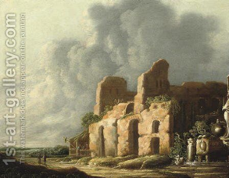 An Italiante landscape with ancients ruins by Charles-Cornelisz de Hooch - Reproduction Oil Painting