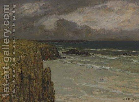 Falaise sur la mer by Charles Cottet - Reproduction Oil Painting