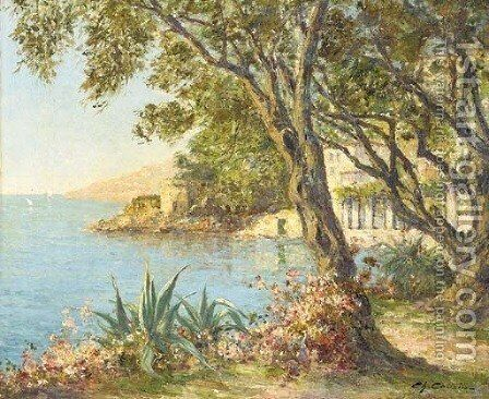 A villa on the Mediterranean coast by Charles Cousins - Reproduction Oil Painting