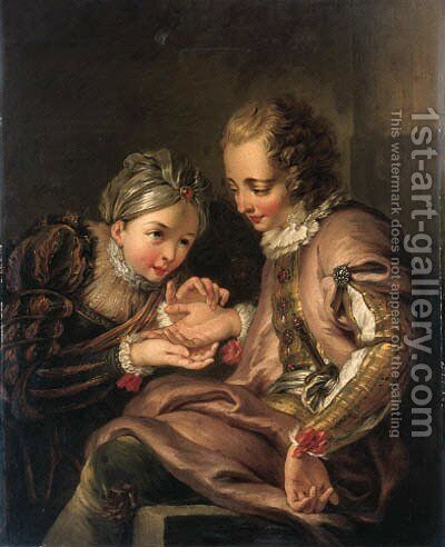 The Fortune Teller 2 by Charles-Antoine Coypel - Reproduction Oil Painting