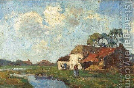 A polder landscape by Charles Dankmeijer - Reproduction Oil Painting