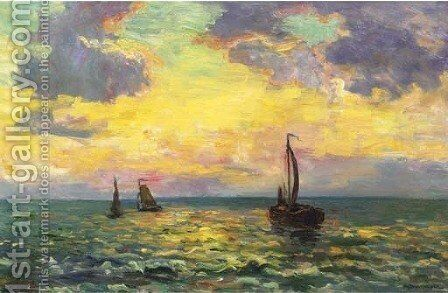 Avondstemming Noordzee sailingvessels on the Northsea at sunset by Charles Dankmeijer - Reproduction Oil Painting