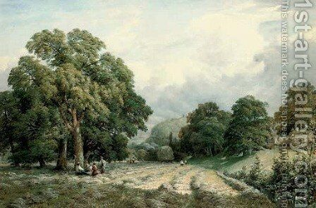 Haymaking in Lewes, Sussex by Charles Grant Davidson - Reproduction Oil Painting