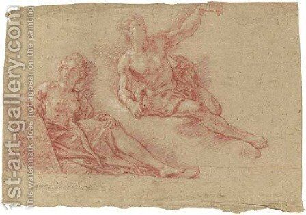 A reclining allegorical figure of Architecture with a reclining nude lifting his arm by Charles de La Fosse - Reproduction Oil Painting