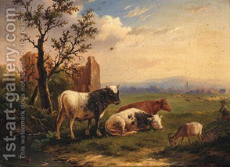 Cattle With A Goat In A Meadow by Charles Desan - Reproduction Oil Painting