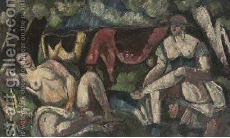 Deux figures et vaches by Charles Georges Dufresne - Reproduction Oil Painting