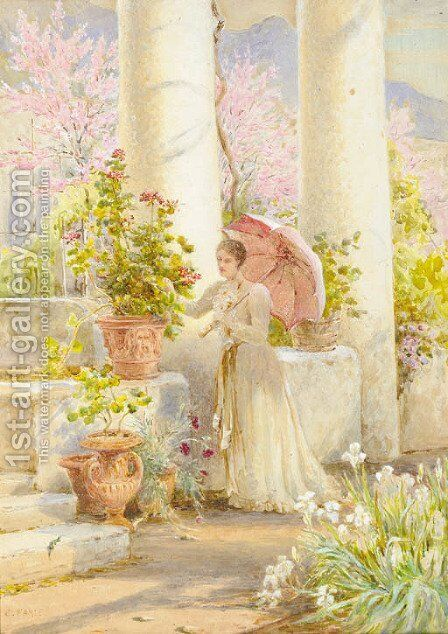 A Spring morning in a garden at Amalfi by Charles Earle - Reproduction Oil Painting