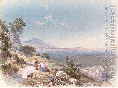 Figures with a donkey resting by the steps overlooking the bay, near Miseno, Bay of Naples by Charles Rowbotham - Reproduction Oil Painting