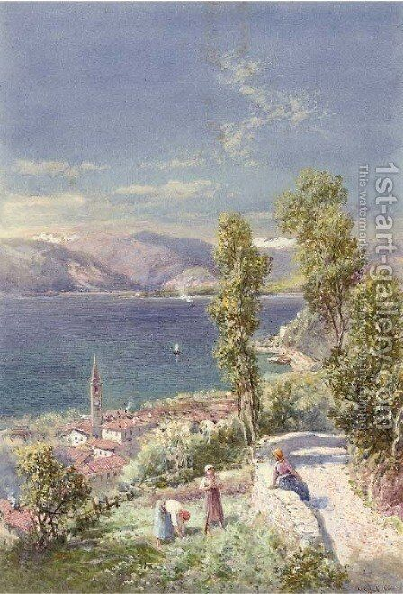 Laveno, Lago Maggiore by Charles Rowbotham - Reproduction Oil Painting