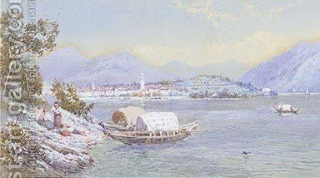 Mothers with their children on the banks of Lago Maggiore by Charles Rowbotham - Reproduction Oil Painting