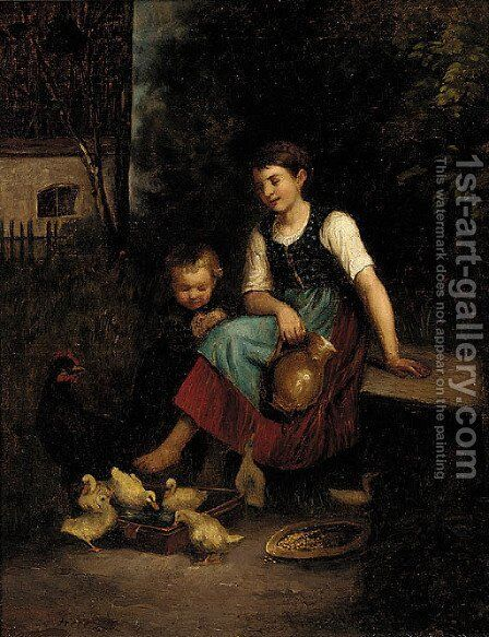 Feeding the Ducks by Charles Edouard Frere - Reproduction Oil Painting
